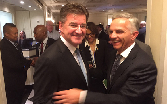 Federal Councillor Didier Burkhalter meets with the presidnet of the 72nd General Assembly, Miroslav Lajčák.