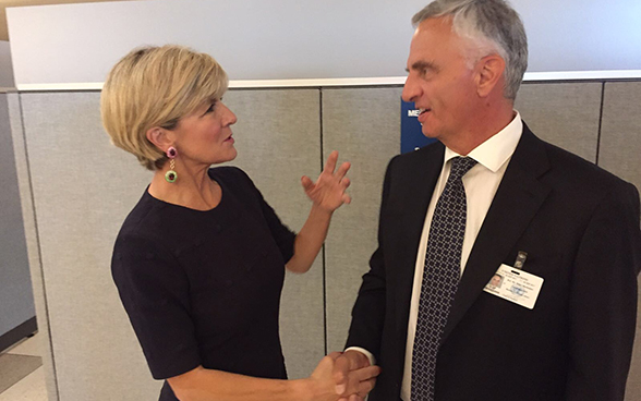 Federal Councillor Didier Burkhalter meets with Australian foreign minister Julie Bishop.