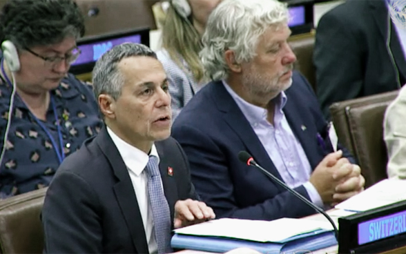 Federal councillor Ignazio Cassis addresses the EU conference on Syria at the UN in New York.