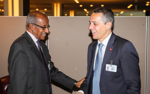 Head of FDFA, Ignazio Cassis, in discussion with Eritrean foreign minister Osman Saleh Mohammed.