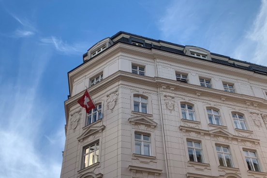 Building in which the Swiss Permanent Mission is housed. Outside hangs the flag of Switzerland.